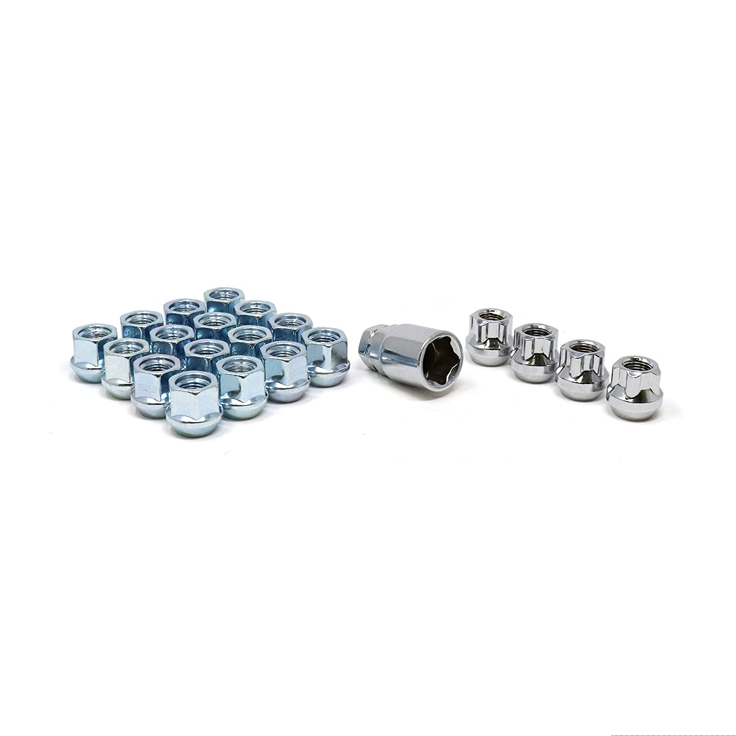 White Knight 791307-1SAM Chrome M12x1.50 Open End Bulge Acorn Lug Nut Kit with Wheel Locks, 20 Pack
