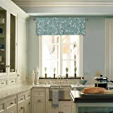 """H.Versailtex Thermal Insulated Rod Pocket Curtain Valance for Kitchen,Bath,Laundry,Bedroom,Living Room - Made by Ultra Soft Material - 58""""x15""""(Set of 1) - Rustic Aqua Floral Pattern"""