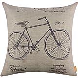 "LINKWELL 18""x18"" Retro Classic Bicycle Bike Burlap Cushion Covers Pillow Case (CC1101)"
