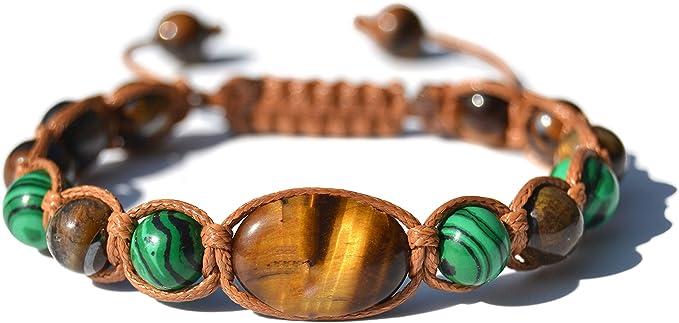 Confezione Regalo Bracciale UNISEX in Malachite e Occhio di Tigre