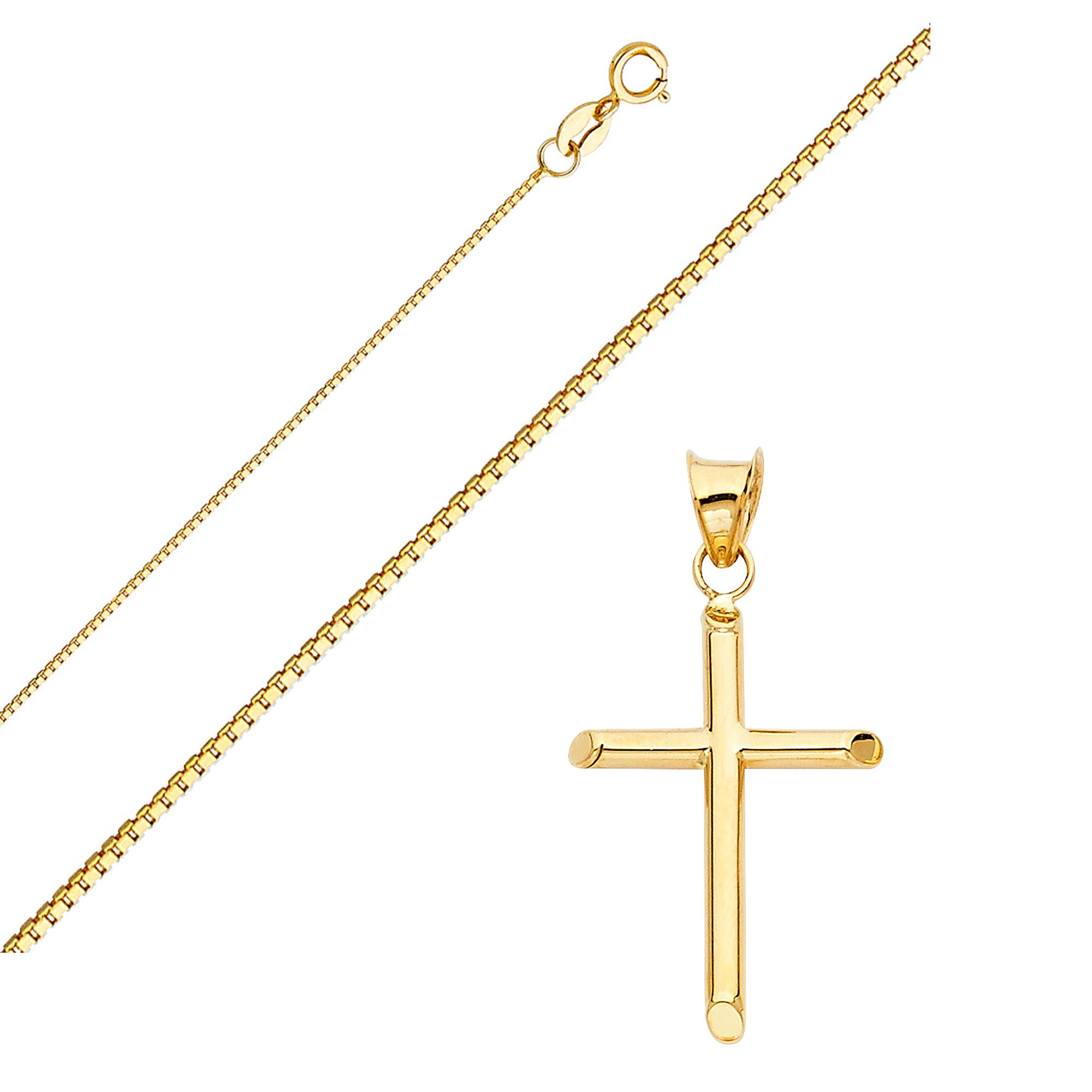 Solid 14K Gold Box Chain Cross Pendant Necklace - Choose Chain Length and Width (24.0, Box Chain - 0.8mm)