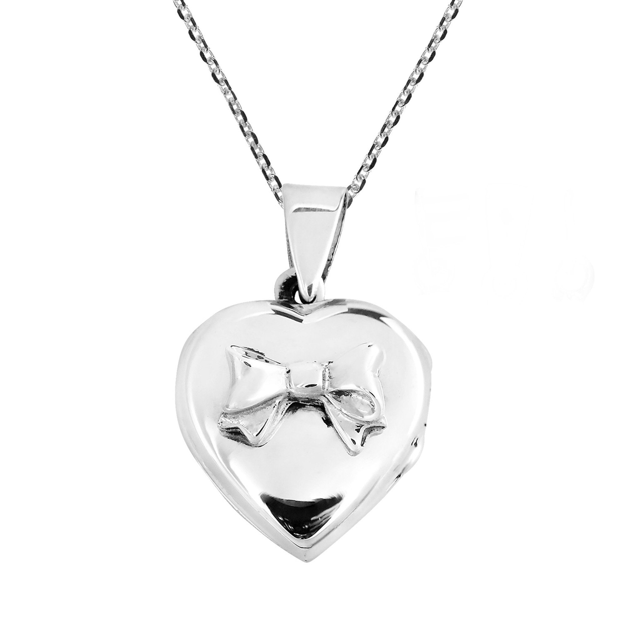 Adorable Valentine Bow on Heart Locket Pendant .925 Sterling Silver .925 Necklace by AeraVida