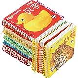 全8册 宝宝的第一套圈圈书撕不烂宝宝必备翻翻书学习卡片0-1-2-3岁启蒙认知卡片 婴幼儿童看图识字认字卡 小孩图画 认动物数字的卡