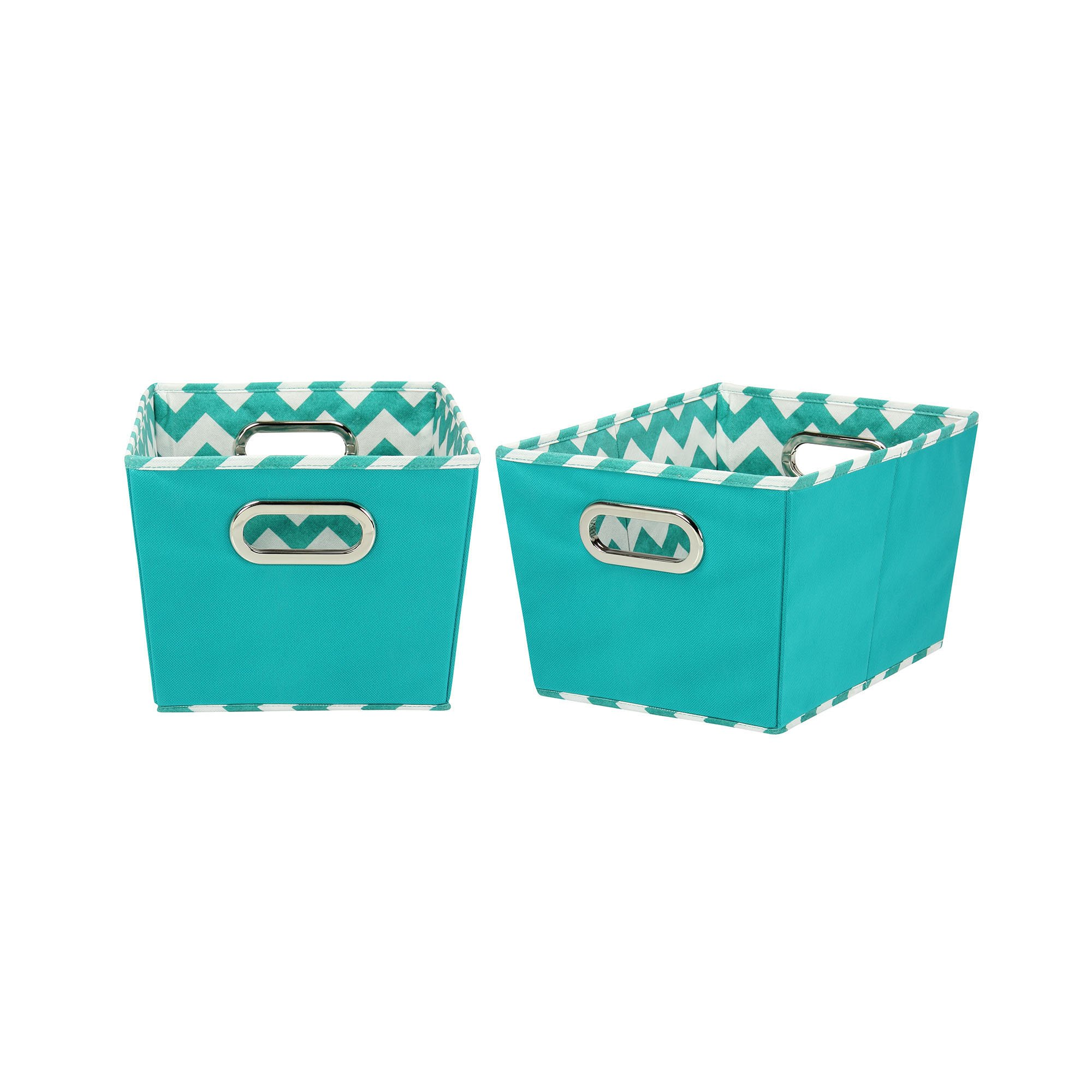 Household Essentials 70-1 Small Tapered Decorative Storage Bins | 2 Pack Set Cubby Baskets | Aqua Chevron