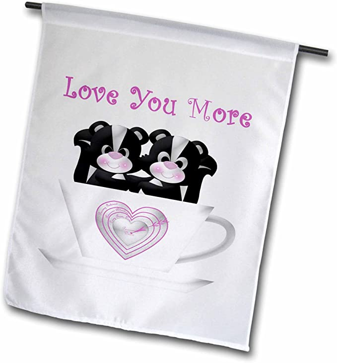Amazon Com 3drose Two Cute Black White Skunks In A Tea Cup With Love You More Garden Flag 12 By 18 Garden Outdoor