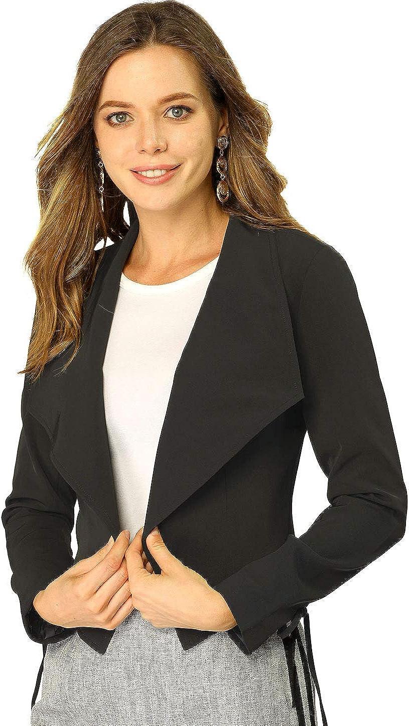 Allegra K Women's Cropp Blazer Elegant Jacket Cardigan Work Office Open Front Blazers