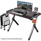 Eureka Ergonomic R1-S Gaming Desk - Gaming Computer Desk, Gaming Table PC Gamers Desk with RGB Lights, Carbon Fiber Texture Desktop, Cup Holder and Headphone Hook