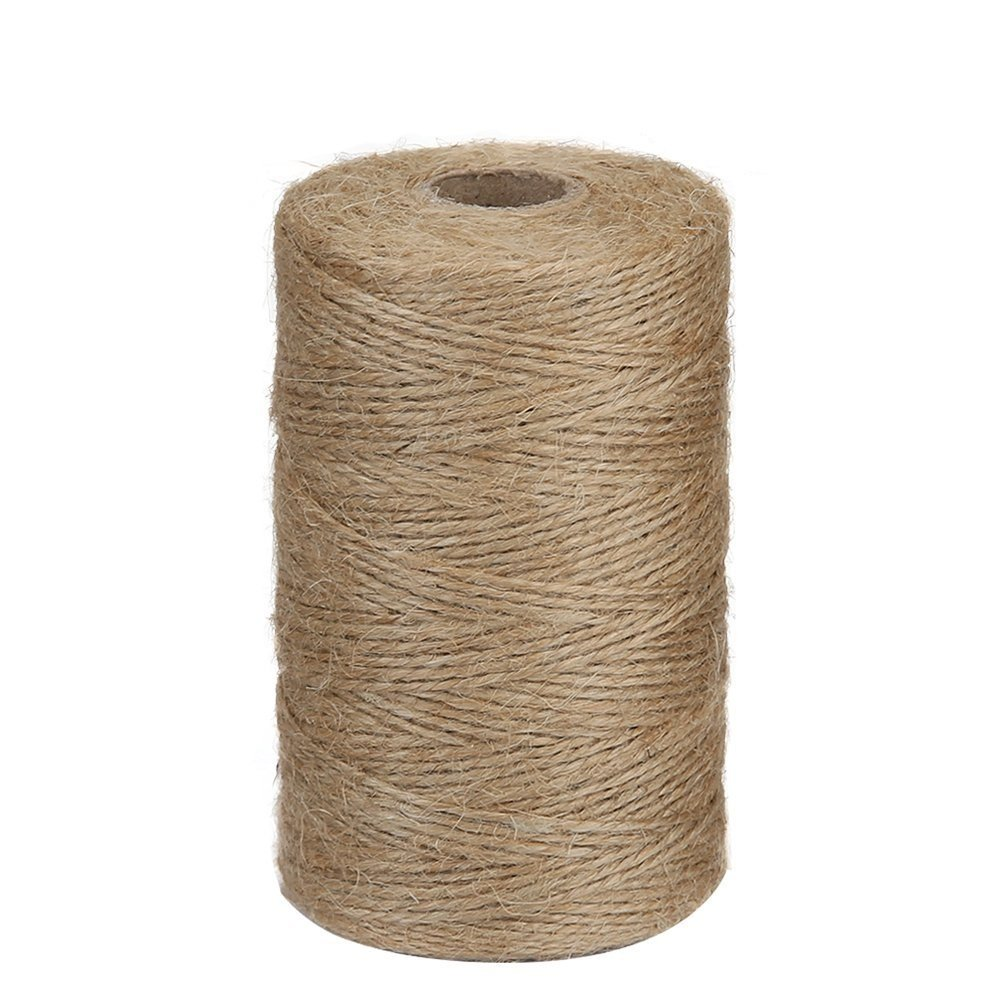 Tenn Well Natural Jute Twine, 2ply 984 Feet Arts and Crafts Jute Rope for DIY Crafts, Decoration and Gardening Applications