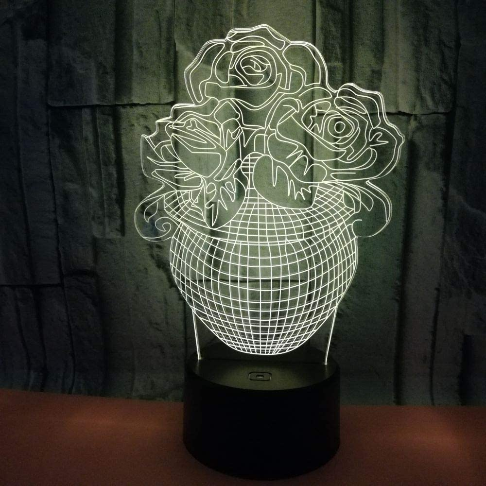 BFMBCHDJ Creative 3D Potted Rose Jarrón Stereo Night Light ...