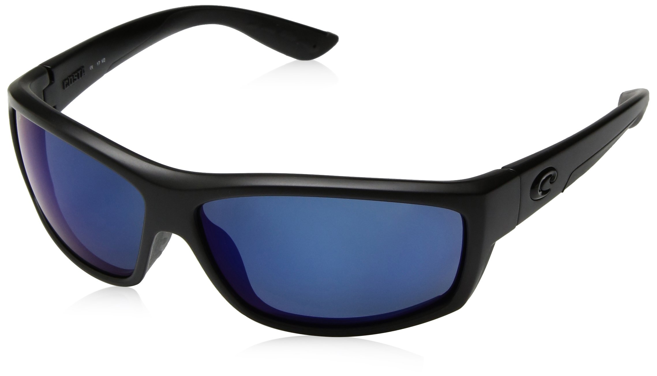 Costa del Mar Men's Saltbreak Polarized Iridium Plastic Oval Sunglasses, Blackout/Blue Mirror, 64.6 mm