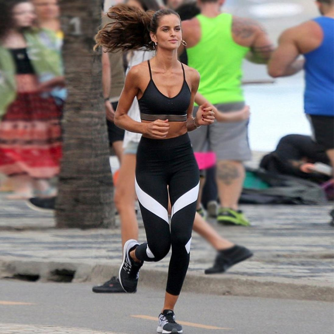 Pantalones Yoga Mujeres, ❤️Xinantime Pantalones de yoga empalme para mujer Skinny Gym Leggings de entrenamiento Pantalones recortados deportivos: ...