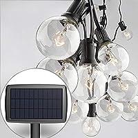 Sunlitec Solar String Lights Waterproof LED Indoor/Outdoor Hanging Lights with Bulbs - 27 Ft Patio Lights for Deckyard…