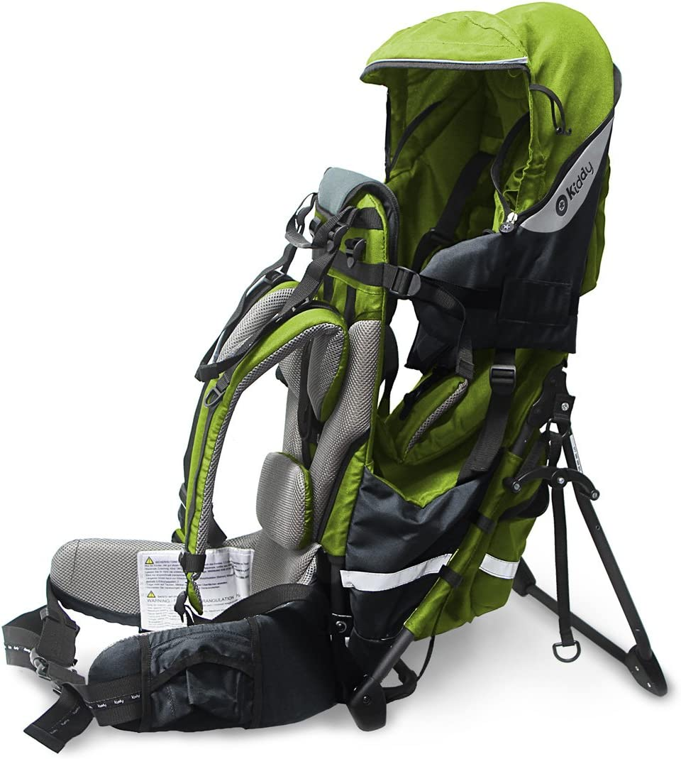 Lime Green Collapsible Base Kiddy 47200TR097 Adventure Pack Back Carrier 70 - Max. 105 cm, Approx. 5 Months - 4 Years, 7.3-18 kg Integrated Sun and Rain Cover