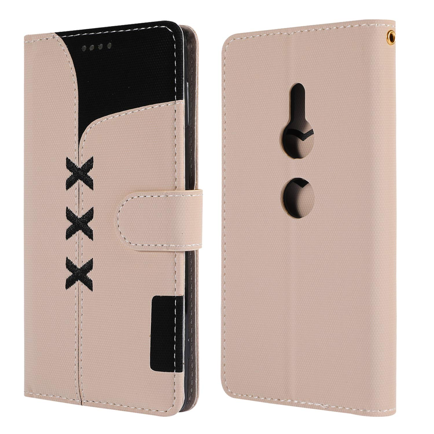 Lomogo Leather Wallet Case with Kickstand Card Holder Shockproof Flip Case Cover for Sony Xperia XZ2 LOGHU040411 Azure Sony Xperia XZ2 Case