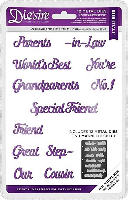 CRAFTERS COMPANION Die/'sire ONLY WORDS Dies Diesire FAMILY OCCASIONS /& SENTIMENT