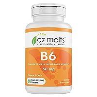 EZ Melts B6 as Pyridoxine, 50 mg, Immune Support, Sublingual Vitamins, Vegan, Zero...