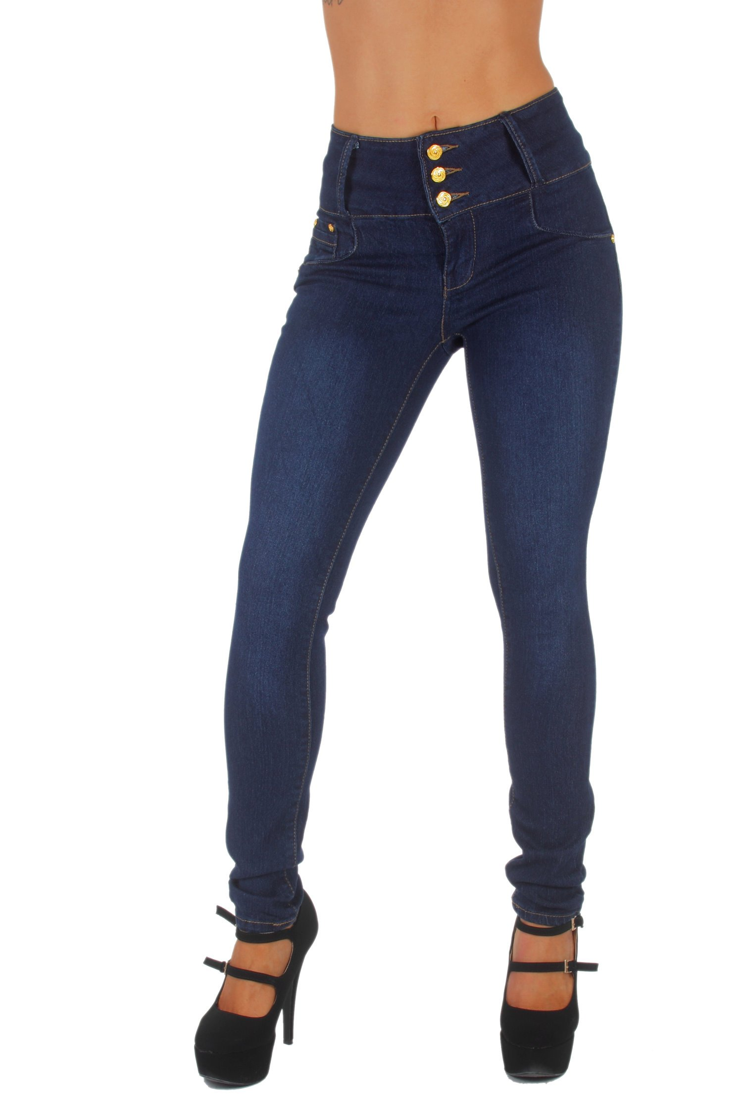 Style G354- Colombian Design, High Waist, Butt Lift, Levanta Cola, Skinny Jeans in Dark Blue (0)