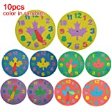 Sealive 10 Pcs Baby Educational Toys DIY Clock Watch Number Letter Time Recognition Intelligence Jigsaw Puzzle EVA Foam Pad Kids Disassembly Toy Game Random Color
