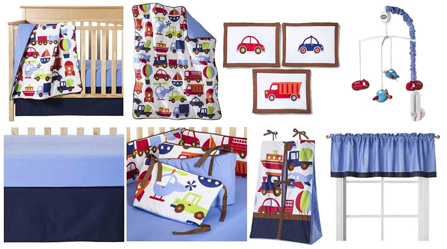 Bacati - Transportation Multicolor 10 Piece Crib Set 10-Piece Nursery-in-a-Bag Crib Bedding Set with Bumper Pad, 100 Percent Cotton Percale Boys Crib Bedding Set with Bumper Pad for US Standard Cribs