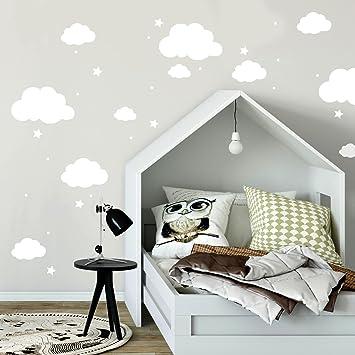 Ilka Parey Wandtattoo Welt Wandtattoo Mit Wolken Sterne Punkte In Weiss Kinderzimmer Wanddeko Wandgestaltung M2334 Amazon De Kuche Haushalt