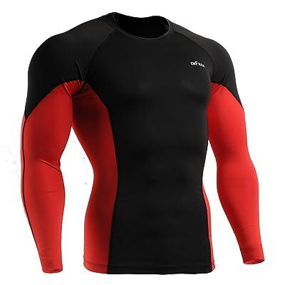 emFraa Homme Femme MMA Sport Compression Black Tight Baselayer Tee-Shirt Long sleeve S~2XL