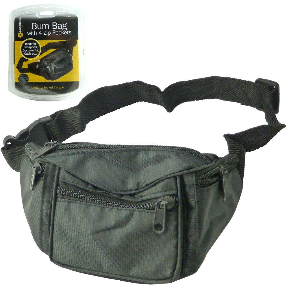 New Travel Bum Bag / Waist Bag / Belt Bag With 4 Zipped Pockets And Adjustable Waist Band (Pack of 1)