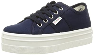 Victoria Unisex Adults Basket Lona Plataf. Low-Top Sneakers Blue Size: 8