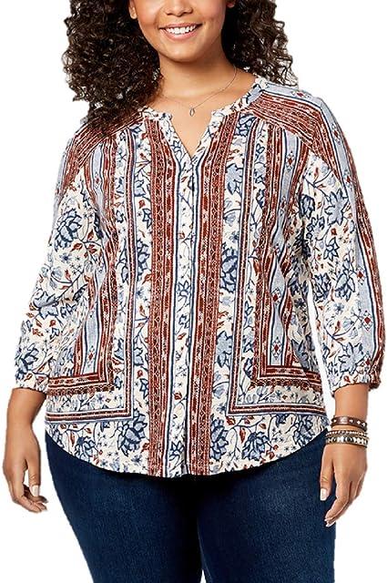 Style /& Co Women/'s Plus Size  Mixed-Print Top