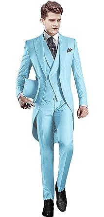46c6e8228801 Everbeauty Men's Handsome 3 Pieces Tailcoat Suit Set Business Suit for Men  2019 Baby Blue