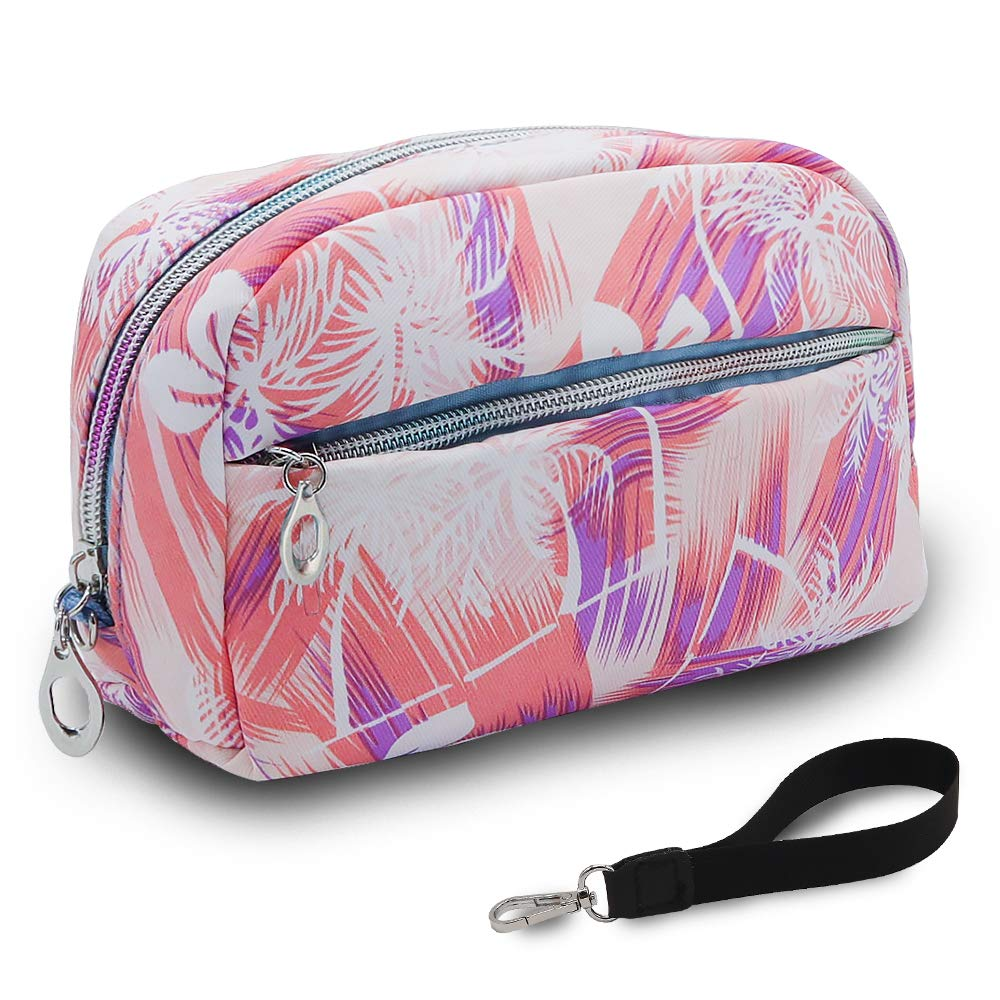 UYRIE Makeup Pouch Travel Cosmetic Bag with Zipper Waterproof Storage Bag Portable Toiletry Pouch Organizer Bag for Girls, Women Rectangle-Pink