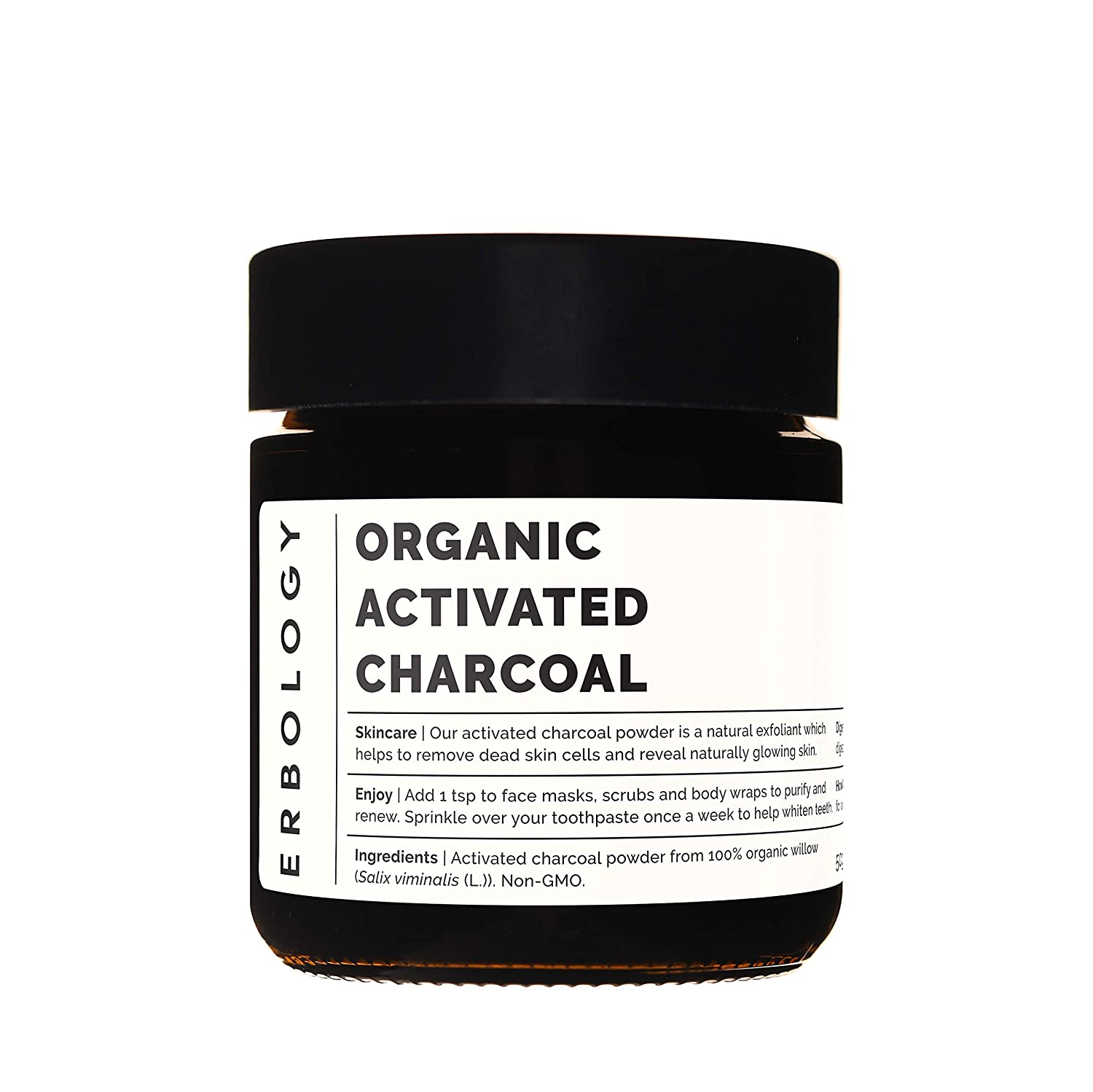 Organic Activated Charcoal 1.8 oz - Food Grade - Teeth Whitening - Digestive Aid