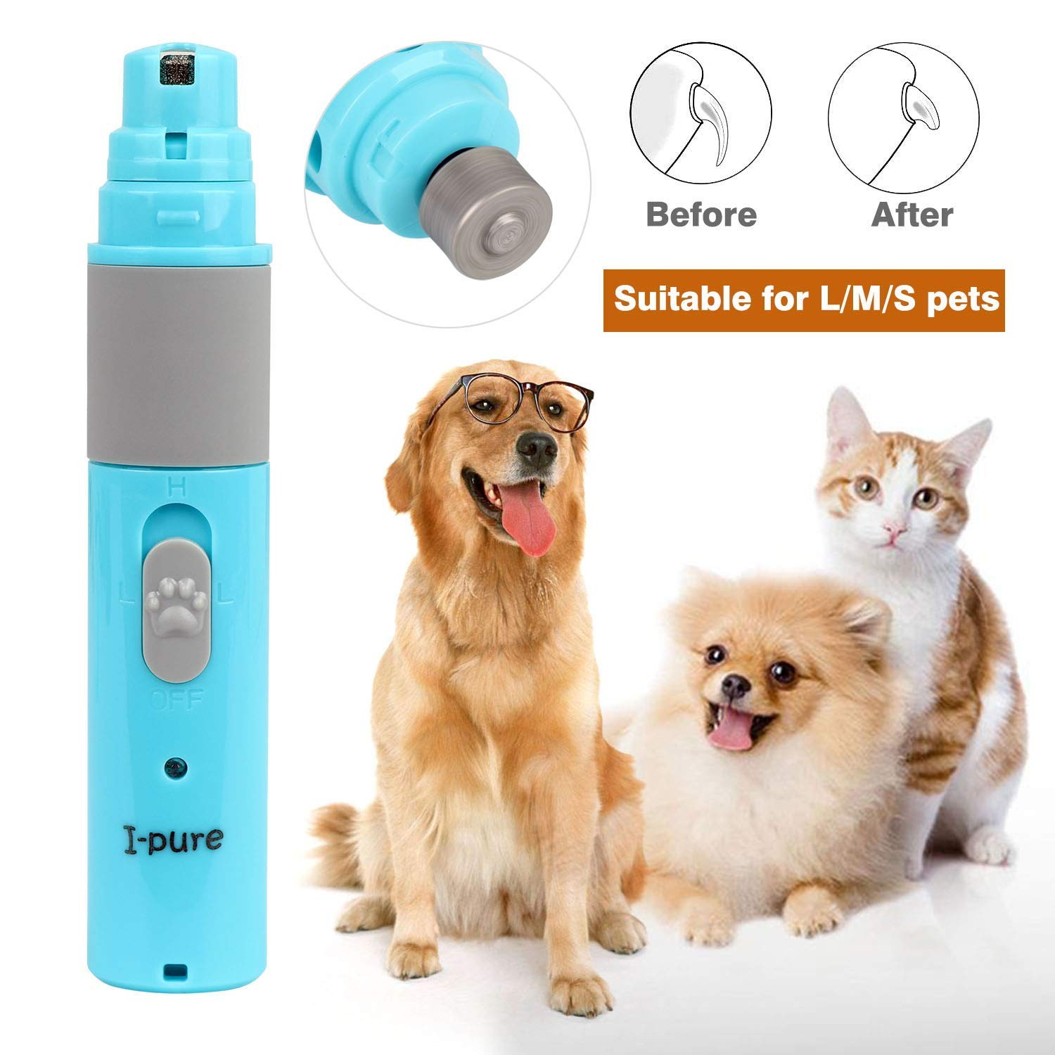 keepwe Pet Nail Grinder Electric Paw Trimmer Clipper Portable & Rechargeable Gentle Painless Paws Grooming Trimming Shaping Smoothing Ultra Quiet pet Nail Grinder