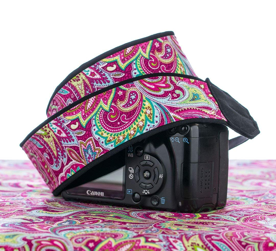 Hot Pink Paisley Camera Strap 057, Fits dSLR, SLR, Mirrorless