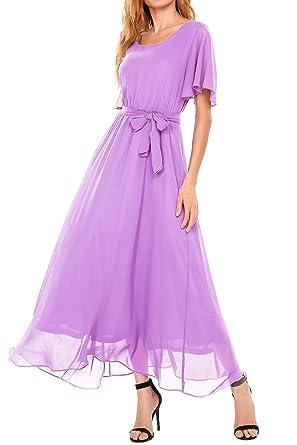 Beyove Womens Casual O Neck Short Sleeve Vintage Chiffon Maxi Dress Pink Purple S