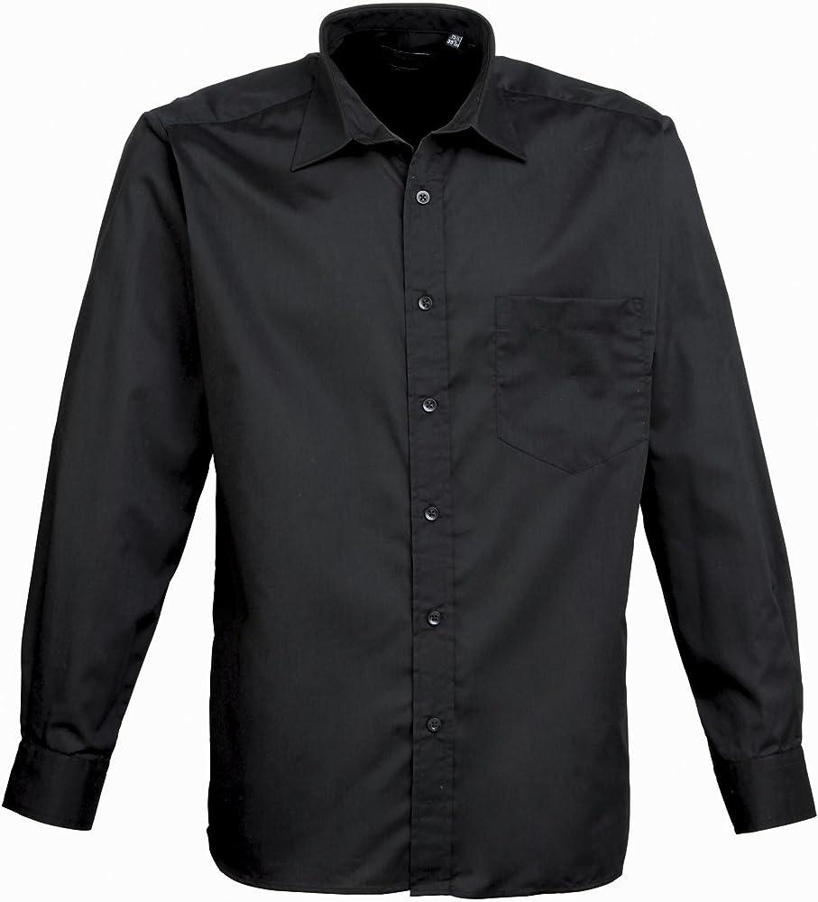 Camisa de popelina de manga larga negra * 17.0: Amazon.es: Ropa y accesorios