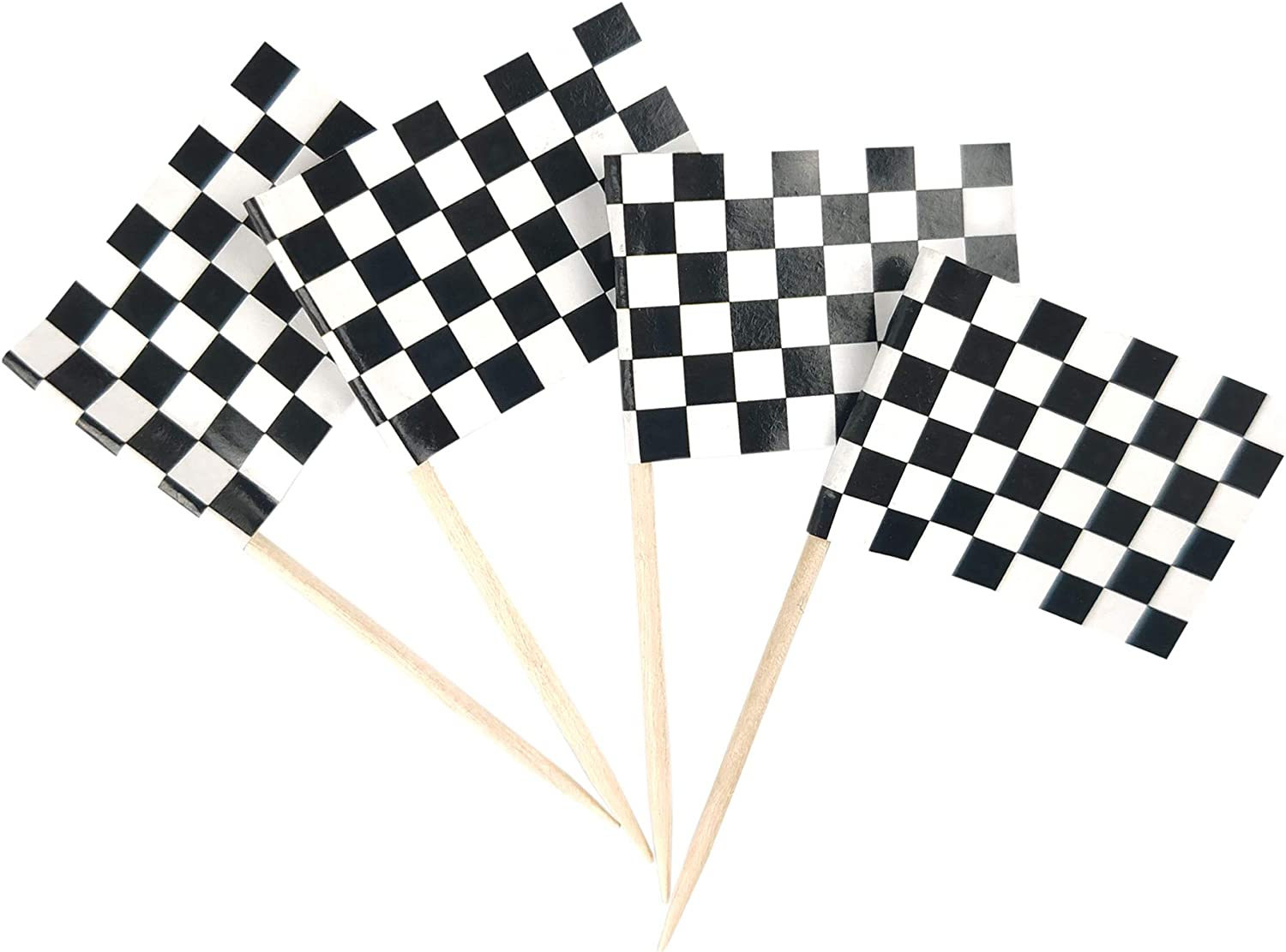 JBCD 100 Pcs Racing Flag Toothpicks Black White Checkered Flags Cupcake Toppers Decorations, Cocktail Toothpick Flag Cake Topper Picks Mini Small Flag Cupcake Pick Sticks