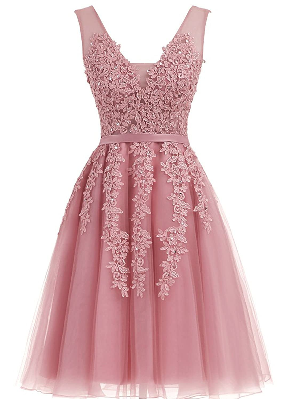 bluesh Caissen Women's Short Ball Gown Sheer VNeck Beading Appliques Tulle Prom Dress VBack with Zipper Mini Party Dress