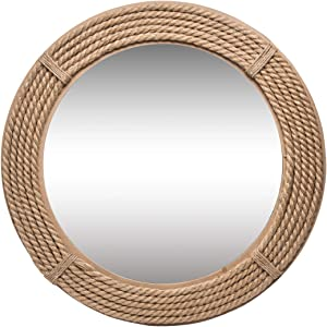 Foreside Home and Garden Round Wrapped Rope Wall Mirror, Brown