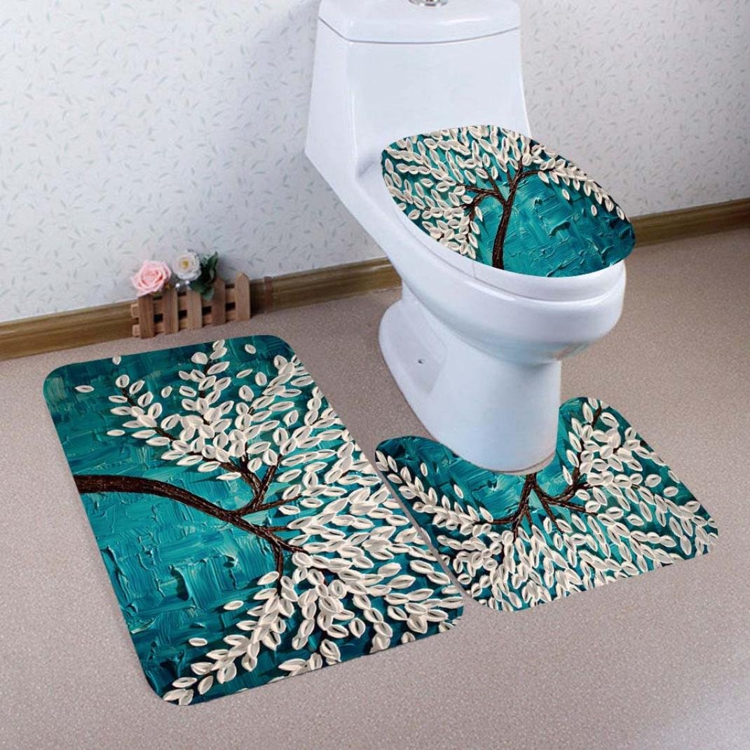YJYDADA 3PCS Print Tree Bathroom Non-Slip Pedestal Rug + Lid Toilet Cover + Bath Mat Set (E)