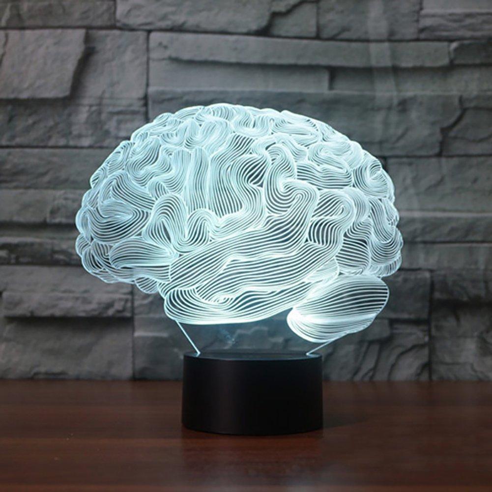 856store 3D Panel Brain Acrylic USB Charging Colorful LED Night Light Bedside Decor Lamp