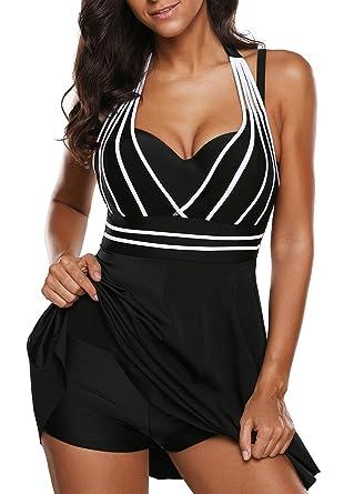 af89971ebb988 Leslady Femme Bikini Robe Maillot Une Pièce Taille S-5XL Eté Elégant Beachwear  Cache-