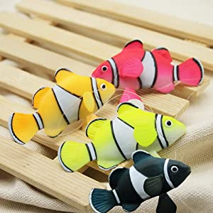 Bestgle Silicone Aquarium Artificial Floating Glowing Clownfish Set Decor Ornament for Fish Tank, 4 Color (Red, Green, Orange and Black)