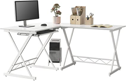 [en.casa] Mesa Escritorio de Esquina Trondheim Escritorio de Ordenador 75 x 150 x 138 cm con Soporte Teclado Soporte para Computadora PC Mesa de ...