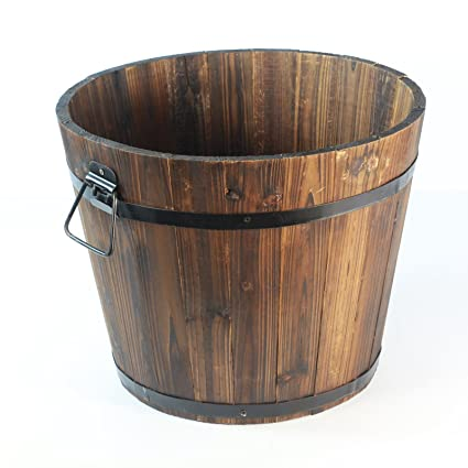 Yardwe Wooden Plant Pot Barrel Planter Round Flower Pots Office Garden Wedding Decor 2PCS 19x14x15CM Brown