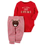 Baby Boy Girl Outfits Set My First Christmas 2 Piece Red Bodysuit & Striped Reindeer Pant Set (0-3M, Red)