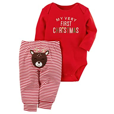 f4c973baca6 Amazon.com  Baby Boy Girl Outfits Set My First Christmas 2 Piece Red  Bodysuit   Striped Reindeer Pant Set  Clothing