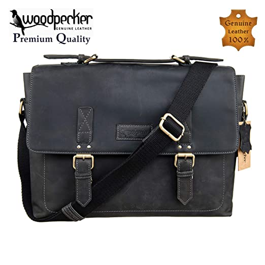 c47c6cb342 Woodpecker Genuine Cowhide 13 inch Leather Messenger Bag for Mens Laptop  Crossbody Shoulder bag Briefcase Macbook