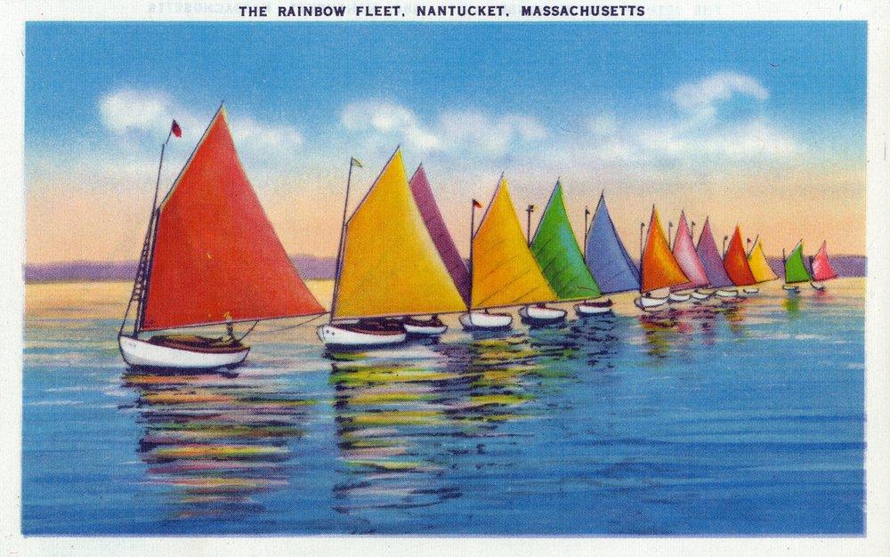 Nantucket, Massachusetts - View of the Rainbow Sailboat Fleet (24x36 Giclee Gallery Print, Wall Decor Travel Poster) by Lantern Press