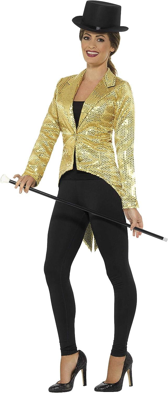 Smiffys-21229M Chaqueta de FRAC con Lentejuelas, Dorado, para Mujer, Color Oro, M-EU Tamaño 40-42 (Smiffy'S 21229M)