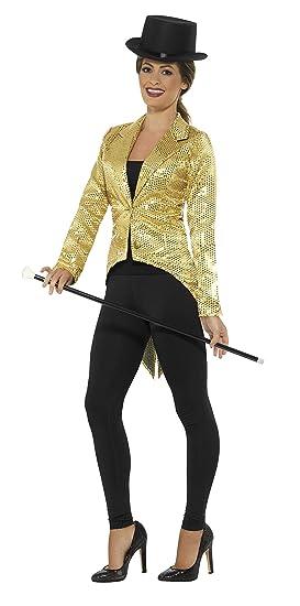 Smiffys Smiffys-21229M Chaqueta de FRAC con Lentejuelas, Dorado, para Mujer, Color Oro, M - EU Tamaño 40-42 21229M